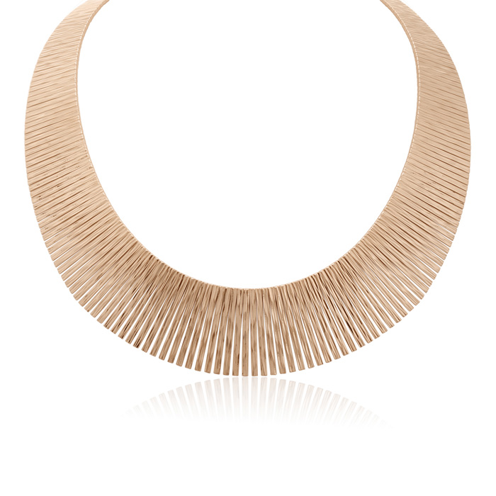 Italian 14K Rose Gold Cleopatra Tapered Bib Necklace, 17 Inches