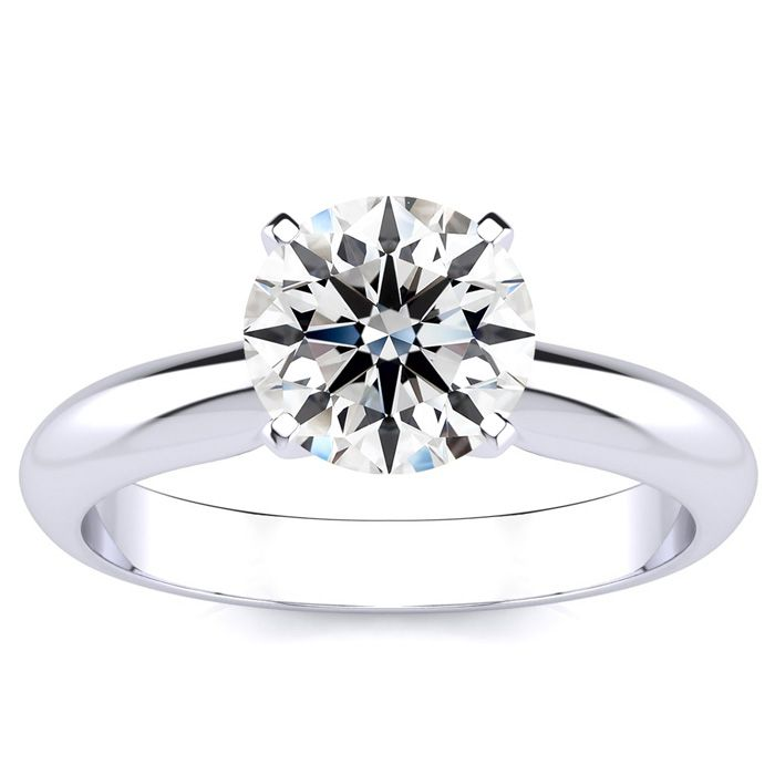 1 ½ Carat Round Diamond Solitaire Ring in Platinum, G, VVS1