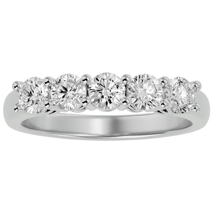 1ct Five Diamond Prong Set Band in  White Gold