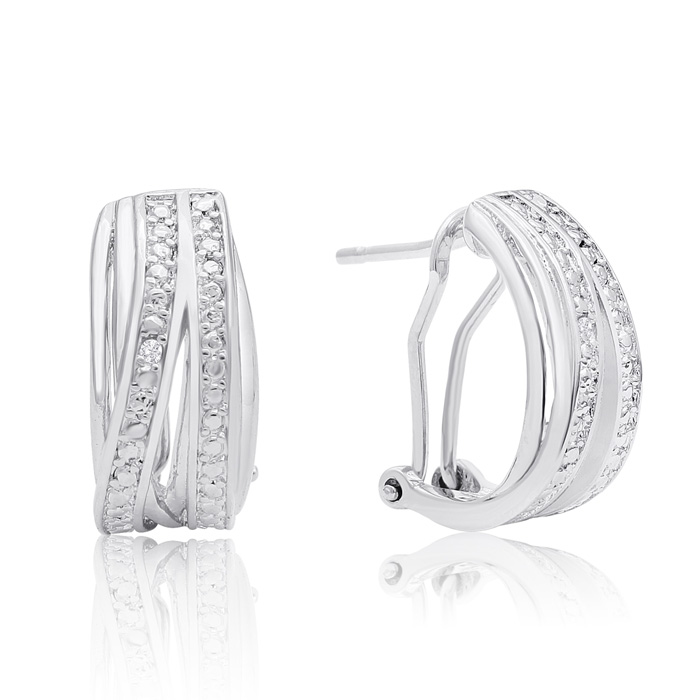 Elegant Diamond Half Hoop Earrings, Platinum Overlay, 3/4 Inch