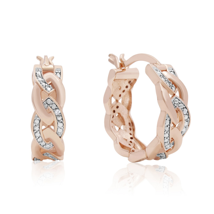 Elegant Diamond Hoop Earrings, Rose Gold Overlay, 3/4 Inch