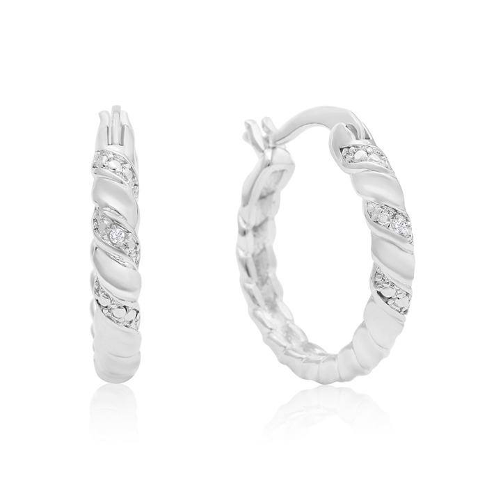Elegant Swirl Diamond Hoop Earrings, Platinum Overlay, 3/4 Inch