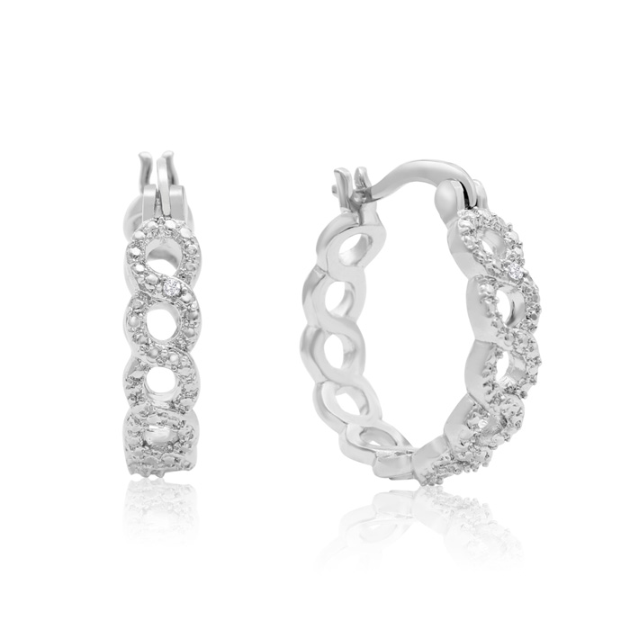 Infinity Diamond Hoop Earrings, Platinum Overlay, 3/4 Inch