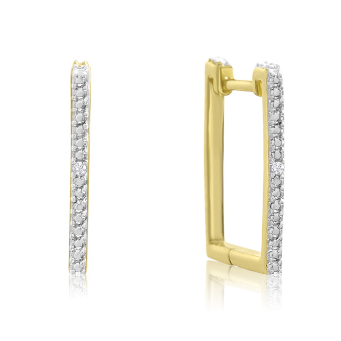Trendy Diamond Hoop Earrings, Gold Overlay, 3/4 Inch
