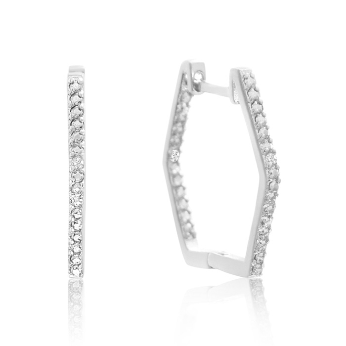 Stylish Diamond Hoop Earrings, Gold Overlay, 3/4 Inch