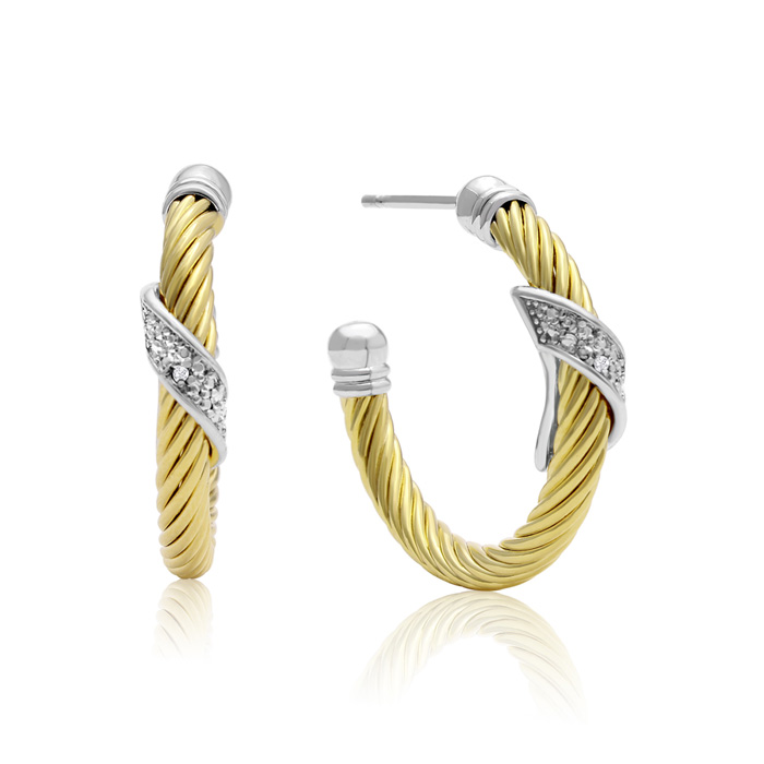 Delicate Two Tone Rope Diamond Hoop Earrings, Gold Overlay, 1 Inch
