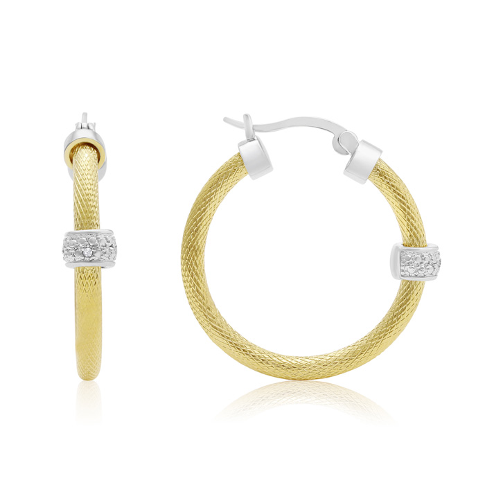 Herringbone Two Tone Diamond Hoop Earrings, Gold Overlay, 1 Inch