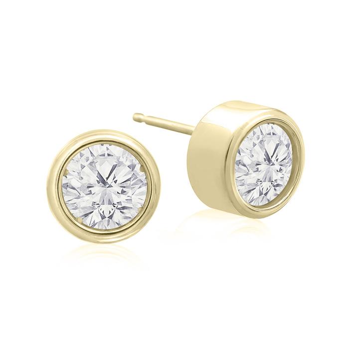 1 1/2 Carat Bezel Set Diamond Stud Earrings Crafted In 14 Karat Yellow Gold