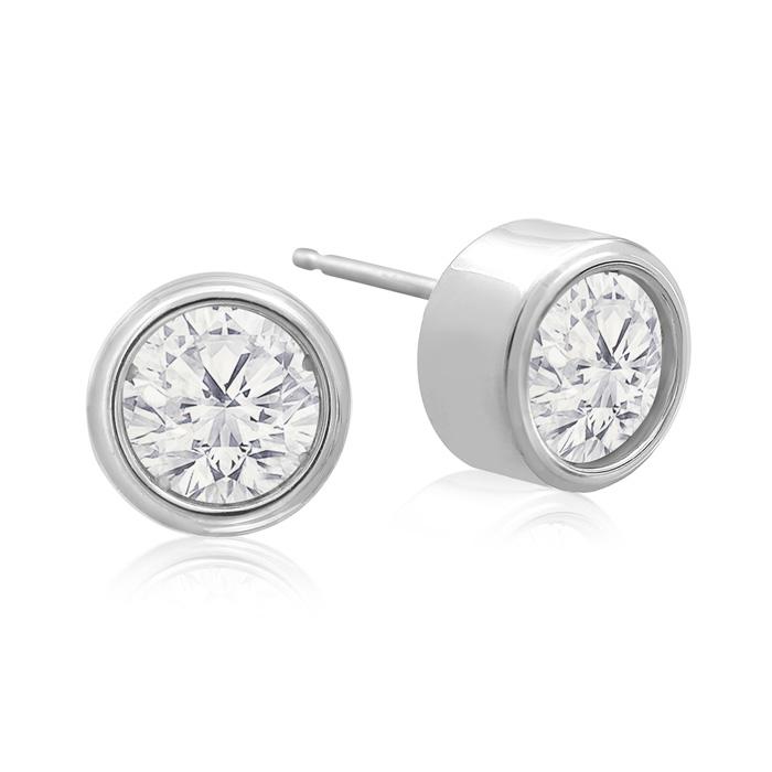 2 Carat Bezel Set Diamond Stud Earrings Crafted In 14 Karat White Gold