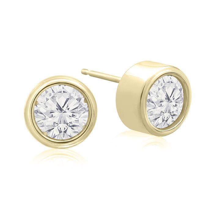 2 Carat Bezel Set Diamond Stud Earrings Crafted In 14 Karat Yellow Gold