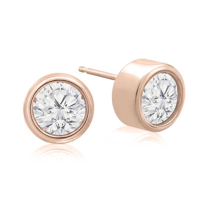 2 Carat Bezel Set Diamond Stud Earrings Crafted In 14 Karat Rose Gold