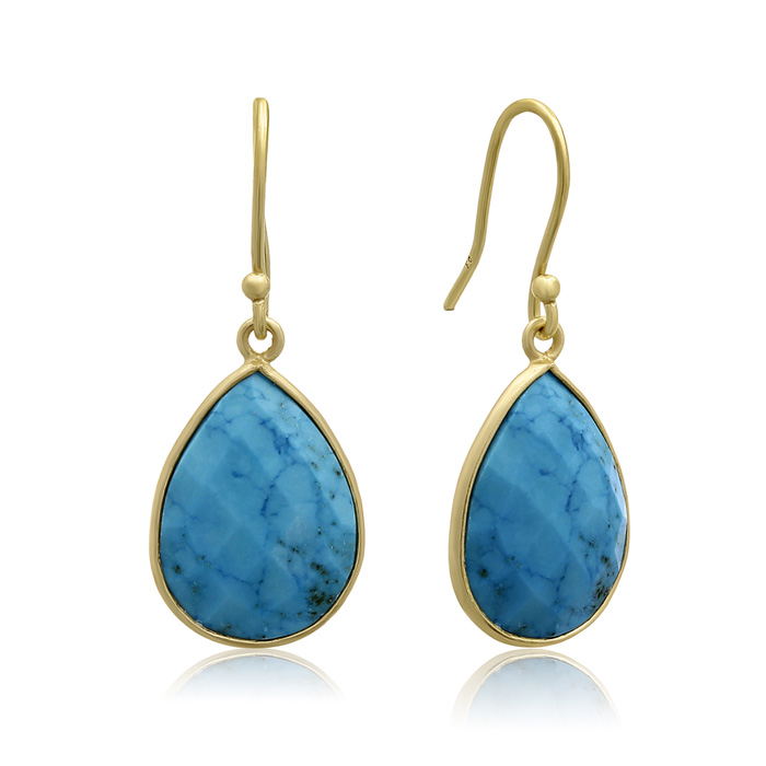 12 Carat Turquoise Teardrop Earrings in 18 Karat Gold Overlay + FREE Matching Necklace!