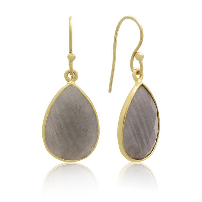 12 Carat Labradorite Teardrop Earrings in 18 Karat Gold Overlay + FREE Matching Necklace!