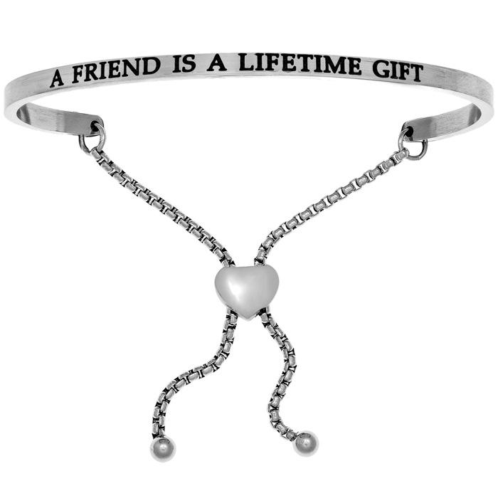 "Silver ""a Friend Is A Lifetime Gift"" Adjustable Bracelet"