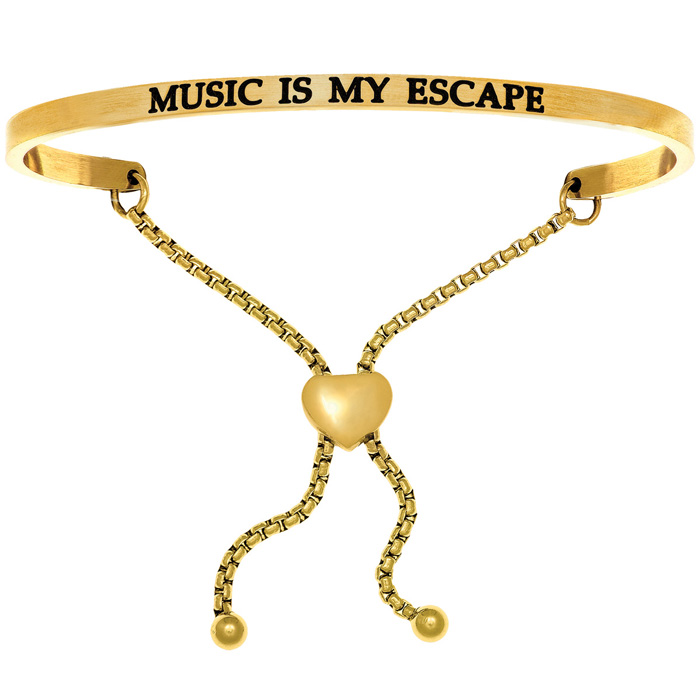 "Yellow Gold ""MUSIC IS MY ESCAPE"" Adjustable Bracelet"