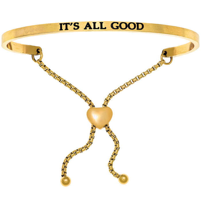 "Yellow Gold ""IT'S ALL GOOD"" Adjustable Bracelet"