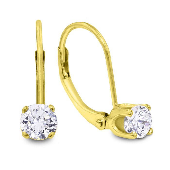 1/2 Carat Diamond Drop Earrings in 14kYELLOW  Gold
