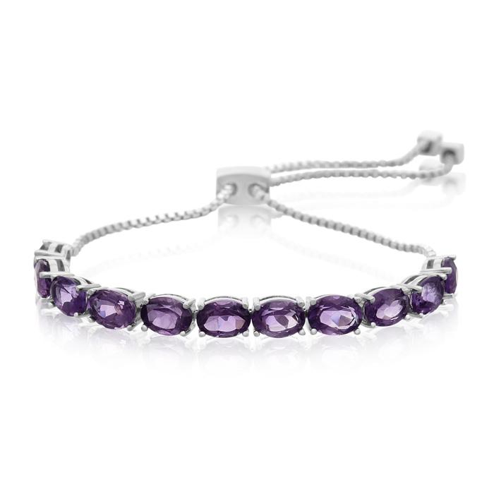 8 Carat Amethyst Adjustable Slide Tennis Bracelet