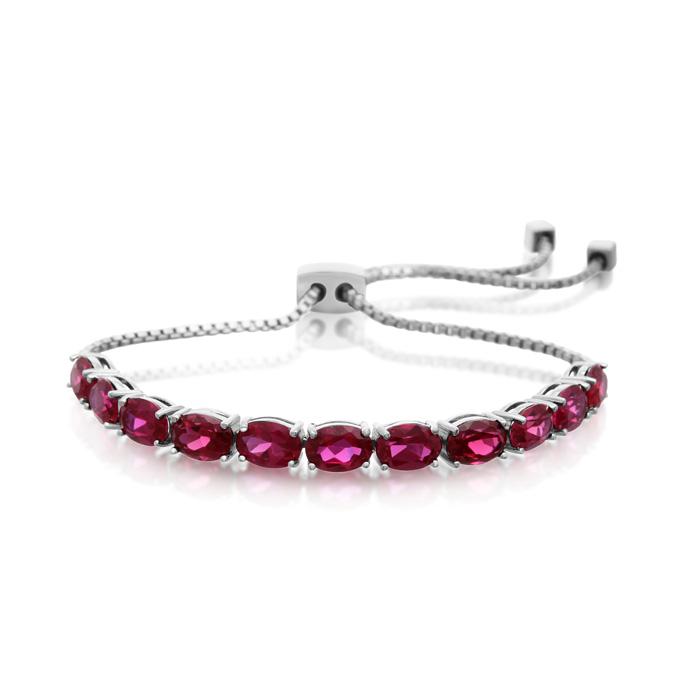 7 Carat Ruby Adjustable Slide Tennis Bracelet