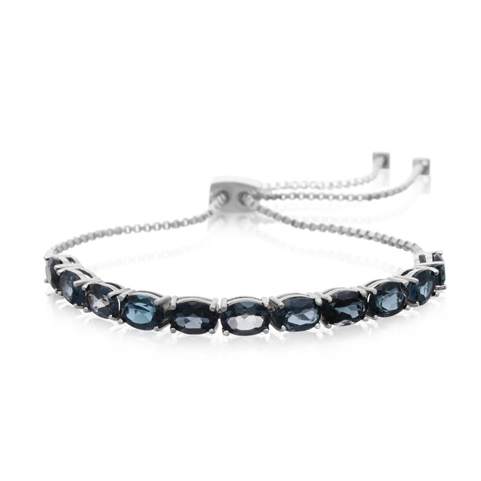 7 Carat London Blue Topaz Adjustable Bolo Slide Tennis Bracelet