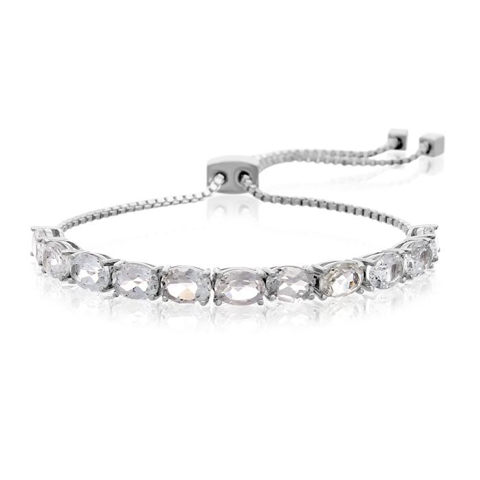 5 1/2 Carat White Topaz Adjustable Bolo Slide Tennis Bracelet
