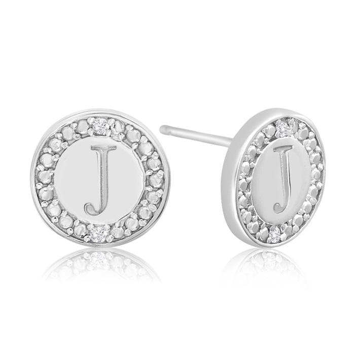 """""""j"""" Initial Diamond Stud Earrings In Sterling Silver"""