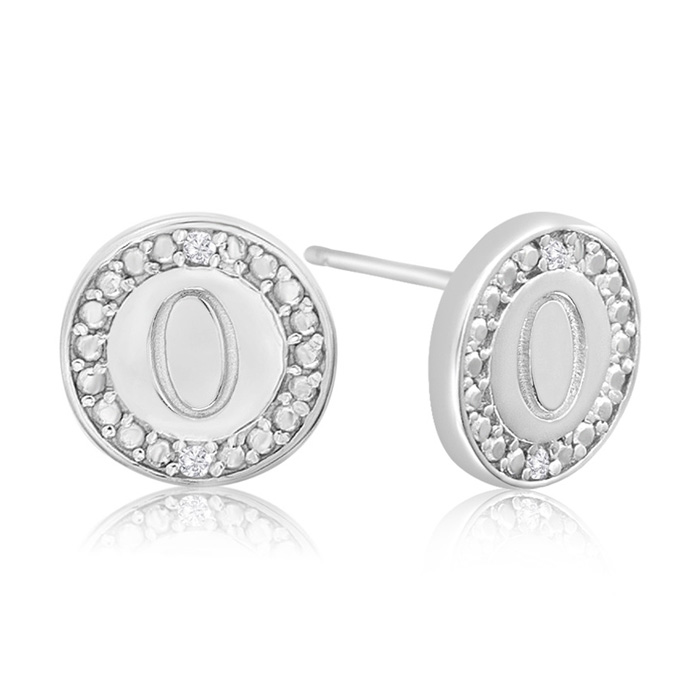 """O"" Initial Diamond Stud Earrings In Sterling Silver"