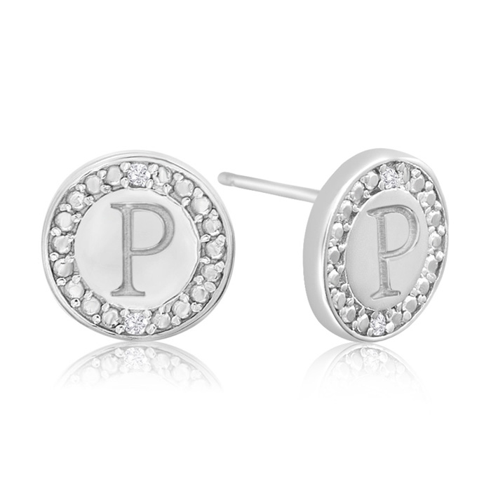 """P"" Initial Diamond Stud Earrings In Sterling Silver"