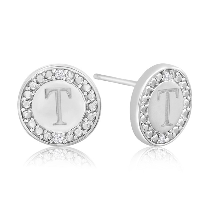 """T"" Initial Diamond Stud Earrings In Sterling Silver"
