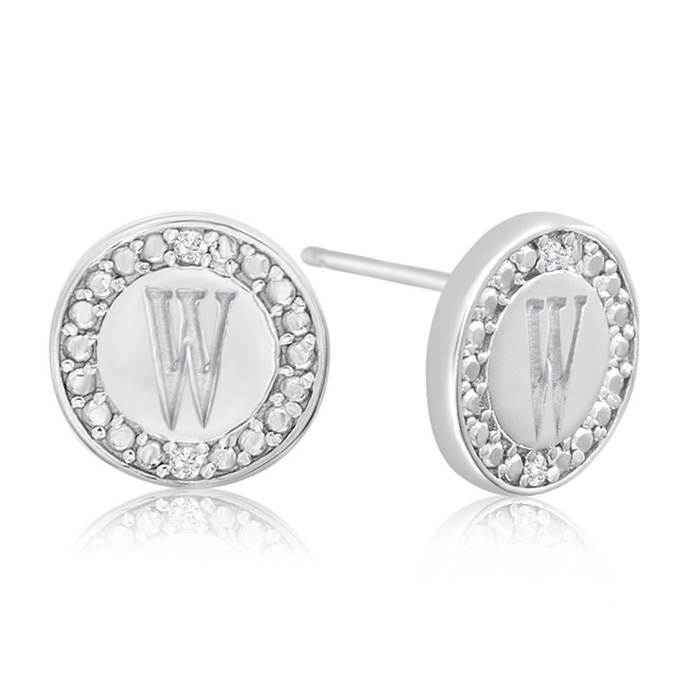 """W"" Initial Diamond Stud Earrings In Sterling Silver"