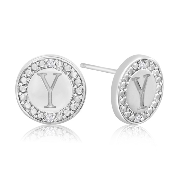 """Y"" Initial Diamond Stud Earrings In Sterling Silver"