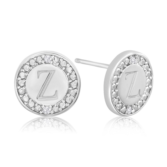 """Z"" Initial Diamond Stud Earrings In Sterling Silver"