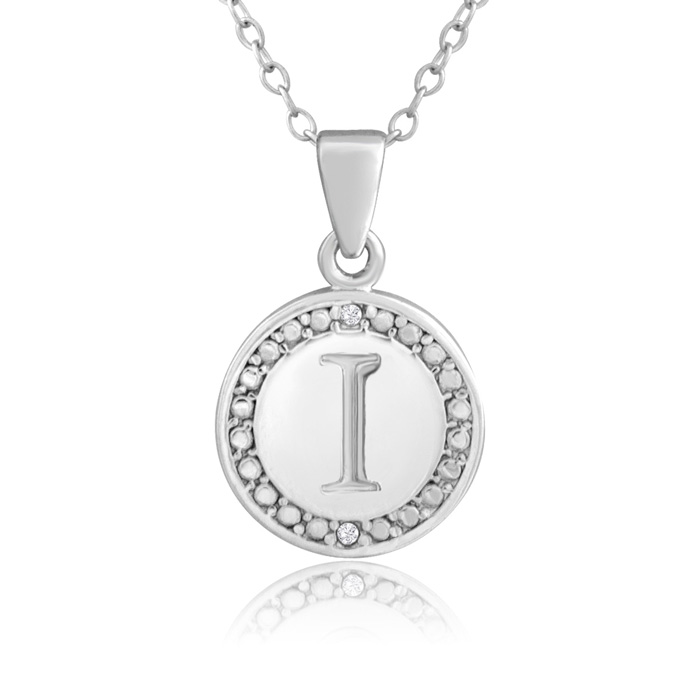 I Initial Diamond Necklace In Sterling Silver, 18 Inches