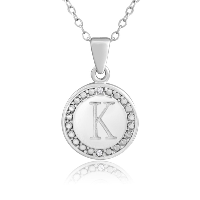 K Initial Diamond Necklace In Sterling Silver, 18 Inches