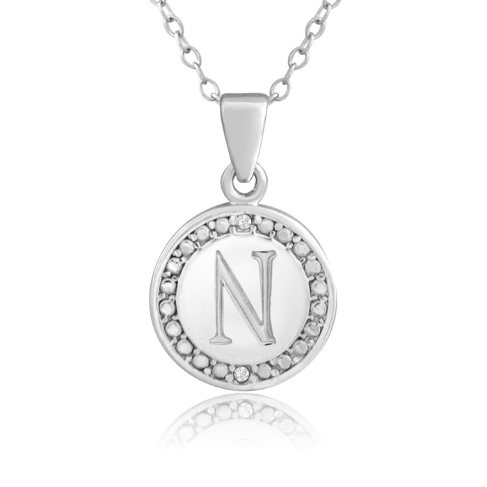 """N"" Initial Diamond Necklace In Sterling Silver, 18 Inches"