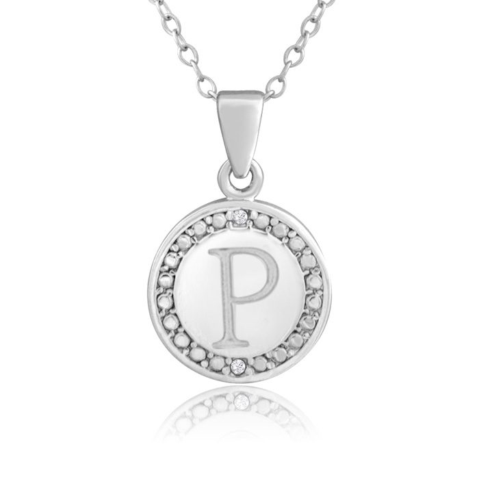 """P"" Initial Diamond Necklace In Sterling Silver, 18 Inches"