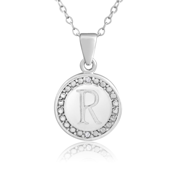 """""""R"""" Initial Diamond Necklace In Sterling Silver, 18 Inches"""