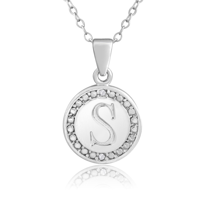 """S"" Initial Diamond Necklace In Sterling Silver, 18 Inches"