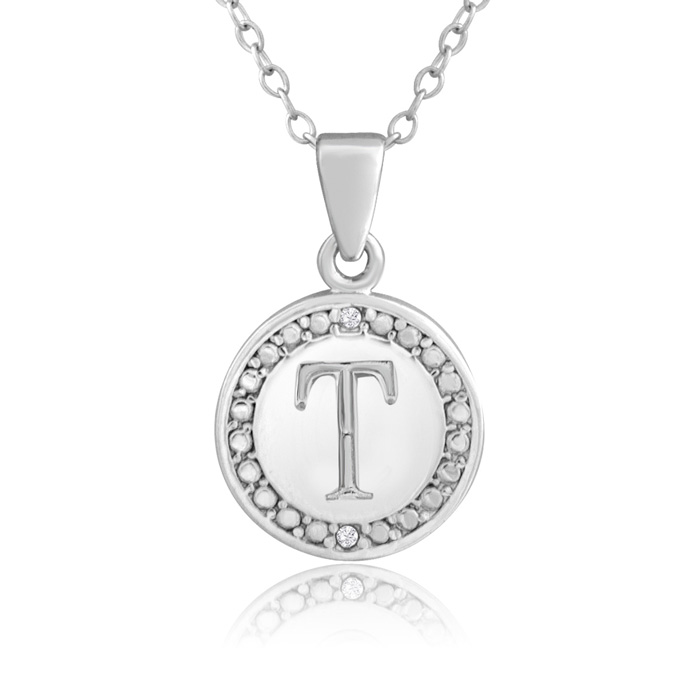 """T"" Initial Diamond Necklace In Sterling Silver, 18 Inches"