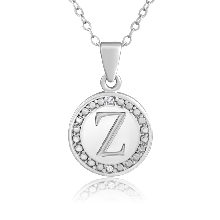 """Z"" Initial Diamond Necklace In Sterling Silver, 18 Inches"