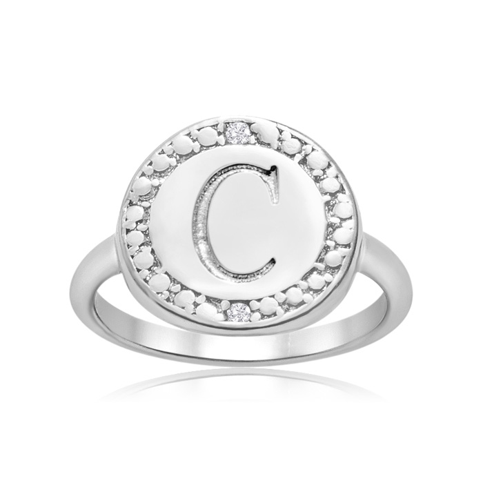 """c"" Initial Diamond Pinkie Ring In Sterling Silver"