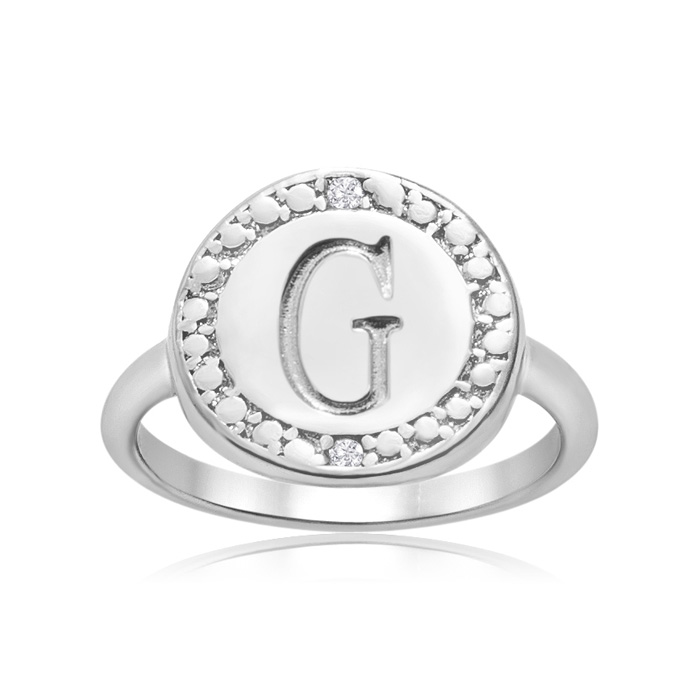 """g"" Initial Diamond Pinkie Ring In Sterling Silver"