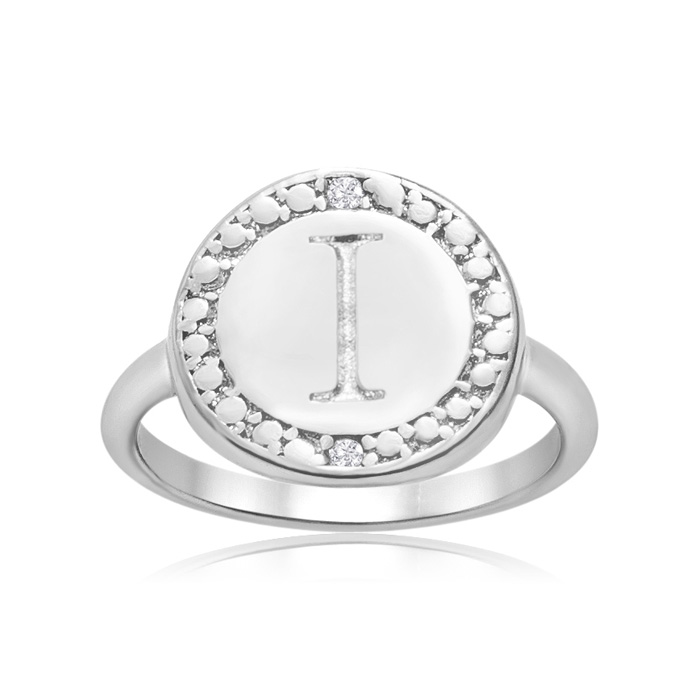 """""""i"""" Initial Diamond Pinkie Ring In Sterling Silver"""