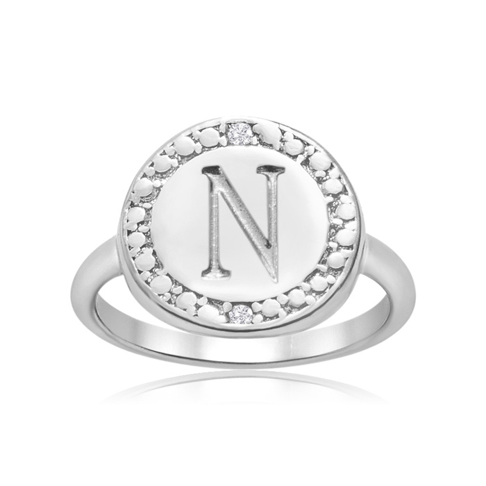 """N"" Initial Diamond Ring In Sterling Silver"
