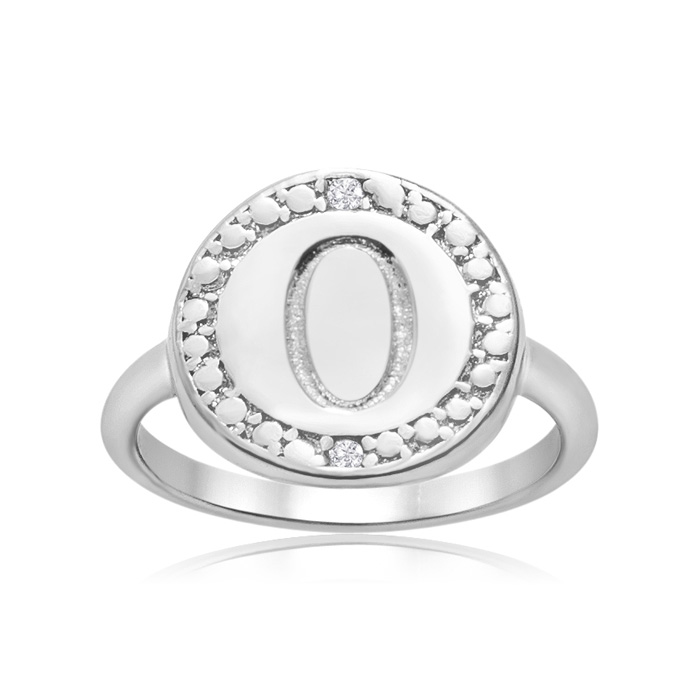 """O"" Initial Diamond Ring In Sterling Silver"