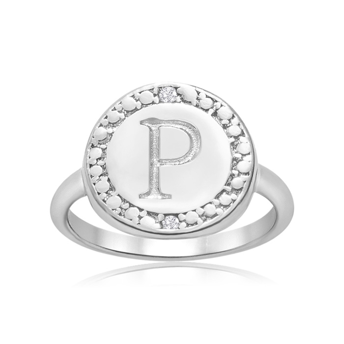 """P"" Initial Diamond Ring In Sterling Silver"