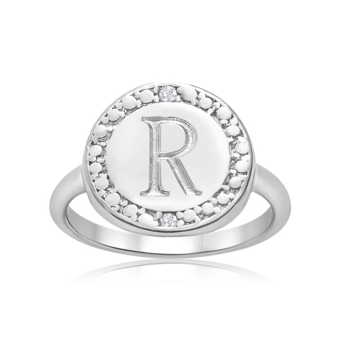 """R"" Initial Diamond Ring In Sterling Silver"