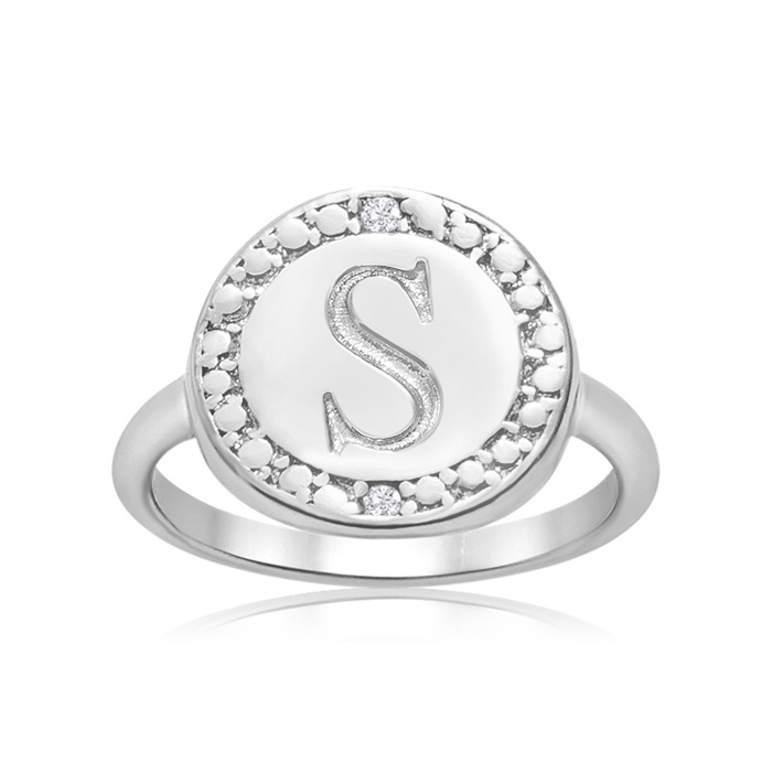 """S"" Initial Diamond Ring In Sterling Silver"