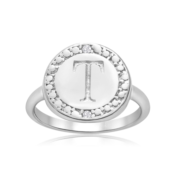 """T"" Initial Diamond Ring In Sterling Silver"