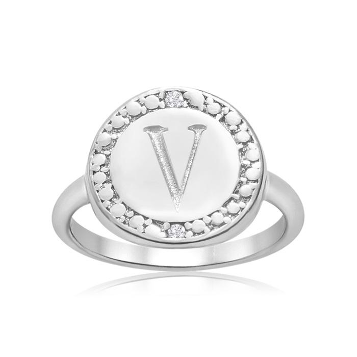 """V"" Initial Diamond Ring In Sterling Silver"